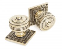 Aged Brass Tewkesbury Square Mortice Knob Set