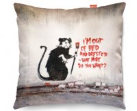 Kico Banksy 45x45cm Funky Sofa Cushion -  Out of Bed Rat