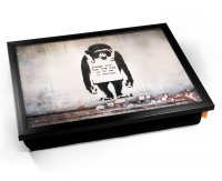 Kico Banksy Cushion 32 x 41cm Lap Tray  - Chimp In Charge