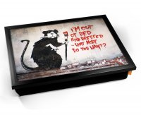 Kico Banksy Cushion 32 x 41cm Lap Tray  - Out of Bed Rat