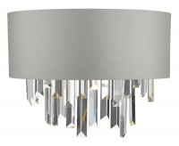 Dar Halle Wall Light Grey & Crystal with Shade