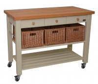 Hungerford Trolleys The Lambourn 3 Drawer French Grey Kitchen Trolley