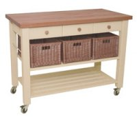Hungerford Trolleys The Lambourn 3 Drawer Buttercream Kitchen Trolley