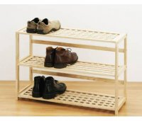 Premier 3 Tier Natural Wood Shoe Rack