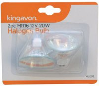 Kingavon Pack of 2 MR16 12 Volt 20 Watt Halogen Bulbs