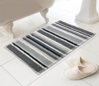 Country Club Micro Bobble Stripe Design Bath Mat - Black/Grey