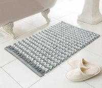 Country Club Helena Design Luxury Bath Mat - Silver/Natural