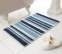 Country Club Micro Bobble Stripe Design Bath Mat - Blue