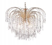 Searchlight Waterfall 5 Light Gold Plated Pendant with Crystal Trimmings