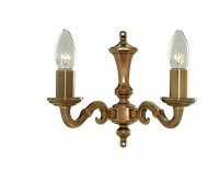 Searchlight Malaga 2 Light Antique Brass Wall Bracket Candle No Glass