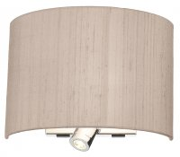Dar Wetzlar Wall Light Polished Chrome with Taupe Silk Shade