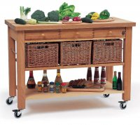 Hungerford Trolleys The Lambourn 3 Drawer Kitchen Trolley