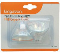 Kingavon Pack of 2 MR16 12 Volt 50 Watt Halogen Bulbs
