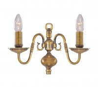 Searchlight 2 Light Antique Brass Flemish Wall Bracket