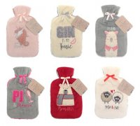 Country Club Hot Water Bottle With Plush Cover