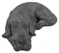 Solstice Sculptures Dog Lying 15cm Blue Iron Effect
