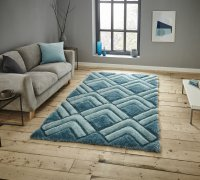 Think Rugs Noble House NH8199 Blue - Various Sizes