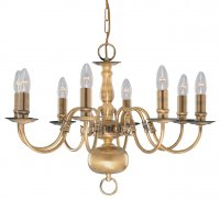 Searchlight 8 Light Antique Brass Flemish Fitting