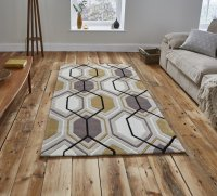 Think Rugs Hong Kong 7526 Beige/Yellow - Various Sizes