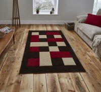 Think Rugs Matrix MT04 Brown/Red - Various Sizes