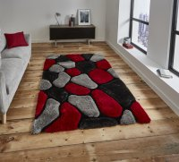 Think Rugs Noble House NH5858 Grey/Red - Various Sizes