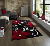 Think Rugs Verona OC15 Black/Red - Various Sizes