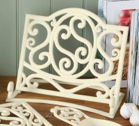 Premier Cast Iron Cookbook Stand in Cream