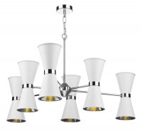 David Hunt Hyde 12 Light Pendant Chrome with Arctic White Metal Shade