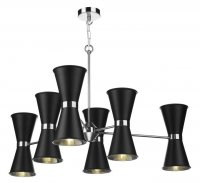 David Hunt Hyde 12 Light Pendant Chrome with Black Metal Shade
