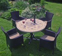 Byron Manor Montpellier Dining Table with 4 Stockholm Black Chairs