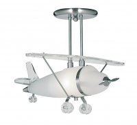 Searchlight Novelty Satin Silver and Frosted Glass Airplane Pendant