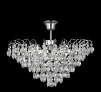Searchlight Limoges 6 Light Chrome Semi Flush Ceiling Light with Sunflower Crystals