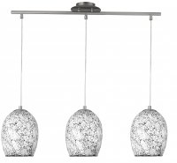 Searchlight Crackle 3 Light Chrome and White Glass Pendant
