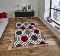 Think Rugs Hong Kong 7526 Cream/Red - Various Sizes