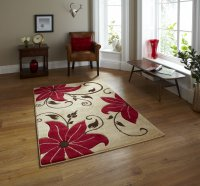 Think Rugs Verona OC15 Beige/Red - Various Sizes
