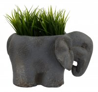 Solstice Sculptures Elephant Planter 20cm Blue Iron Effect