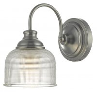 Dar Tack Wall Light Antique Chrome & Textured Glass