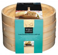 World of Flavours Oriental Two Tier Bamboo Steamer 25cm