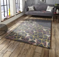 Think Rugs Spectrum SP37 Grey/Yellow/Pink