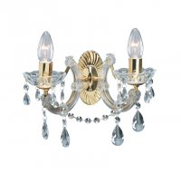 Searchlight Marie Therese 2 Light Polished Brass Wall Light with Crystal Droplets