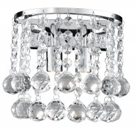 Searchlight Hanna 2 Light Chrome Round Wall Bracket with Clear Crystal Balls