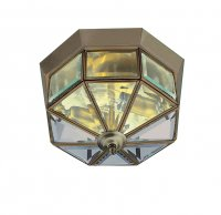 "Searchlight 9"" Antique Brass and Bevelled Glass Flush Ceiling Light"