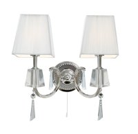 Searchlight Portico 2 Light Chrome and Glass Wall Light with White String Shades