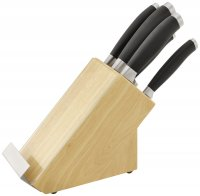 Stellar James Martin Knife Collection 5 Piece Knife Block Set with Recipe Book Holder - Natural