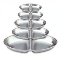 Grunwerg Oval Divided Stainless Vegetable Serving Dishes - 5 Sizes