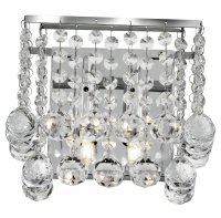 Searchlight Hanna 2 Light Chrome Wall Light with Cascading Crystal Balls