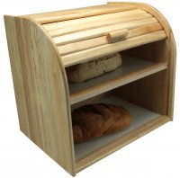 Apollo Housewares Rubberwood Bread Bin Double Decker