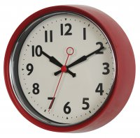 Rex 50s Style Metal Wall Clock Red
