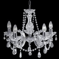Searchlight Marie Therese 5 Light Chrome Pendant with Crystal Droplets