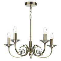Dar Allegra 5 Light Dual Mount Pendant Antique Brass